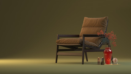 visualization of a chair with a vase in the studio