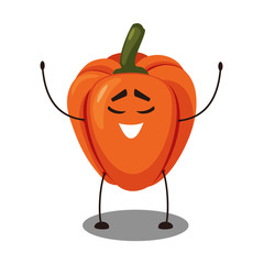 Vector Emoji orange pepper with a smiley face.  Cute cartoon Orange bell pepper ripe fresh paprika with happy emotion. Vector illustration