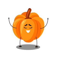Vector Emoji orange pumpkin with a smiley face.  Cute cartoon Orange pumpkin with happy emotion. Vector illustration