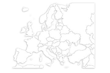 Mapa blanco de Europa.