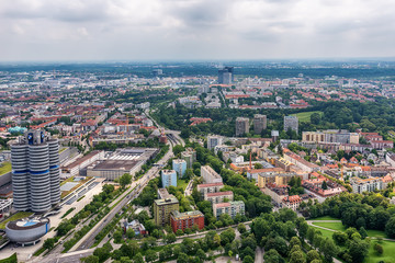 Munich, Germany - June 09, 2018: Aerial view of northern part of Munich cityscape from Olympic Tower in Bavaria, Germany.