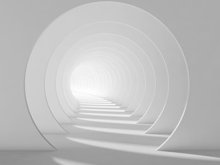 Empty white tunnel, abstract interior 3d