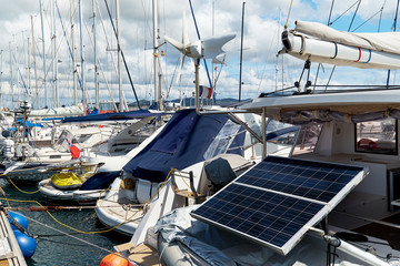 Solar panel on a moored yacht in the port of Ibiza. Spain