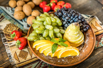 plate with mixed fruits
