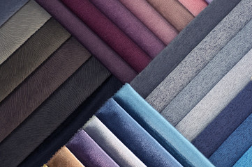 Catalog of multicolored cloth from matting fabric texture background, silk fabric texture, textile industry background