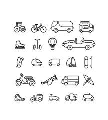 série de pictogrammes, icônes vectoriels sur le thème des véhicules et moyens de transports