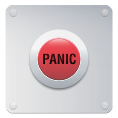 Panic button on chrome panel. Red and silver colored isolated vector illustration on white background.