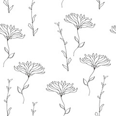 wild flowers vector pattern