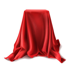 Vector realistic box covered with red silk cloth isolated on white background. Empty podium, stand with tablecloth to show magic tricks. Secret gift, hidden under satin fabric with drapery and folds