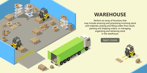 Vector isometric warehouse with interior inside, delivery service. Storehouse with boxes for shipping, pallets, forklifts with cargo. Web page with button and space for text, logistics concept banner