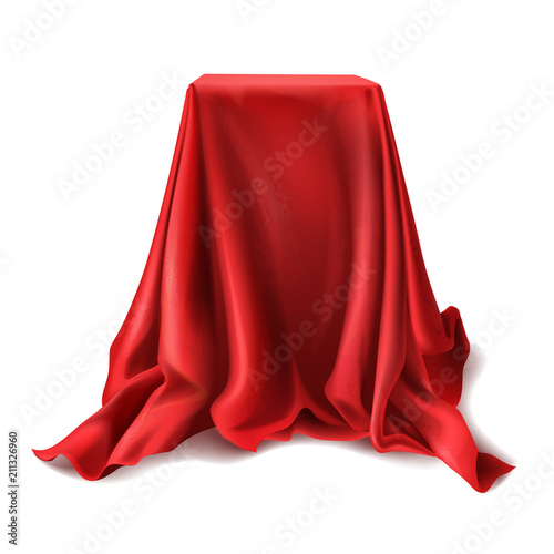 vector realistic box covered with red silk cloth isolated on white
