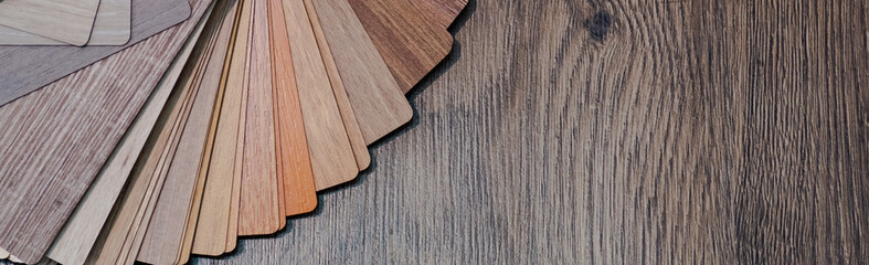 Wooden samples for floor laminate or furniture in home or commercial building.Small color sample boards. Copy space, design