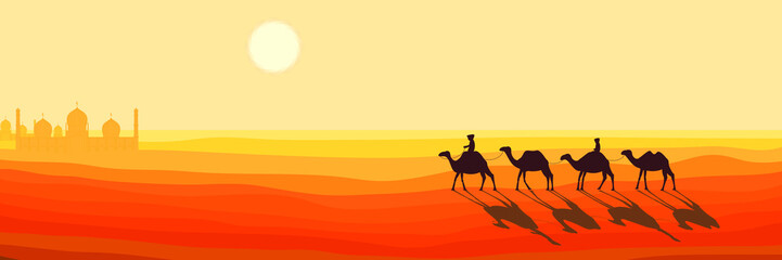 Panoramic Landscape of the Desert. Caravan of Camels Goes to the Arabic Oasis. Silhouette Design in a Flat Style. Vector Illustration