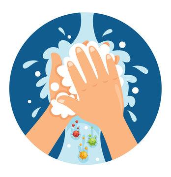 Vector Illustration Of Washing Hands