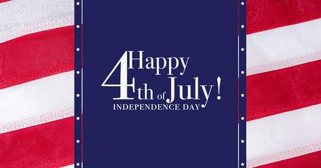 Happy 4th of July greeting with red and blue background, Independence Day