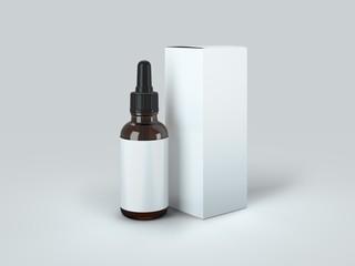 Dropper Bottle with box Mock-Up - Blank Label