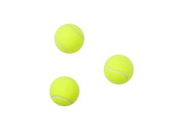 Tennis ball, üç adet tenis topu, izole edilmiş,