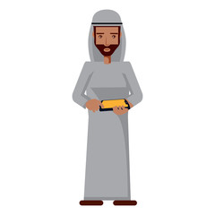arabic man standing and using a cellphone over white background, vector illustration