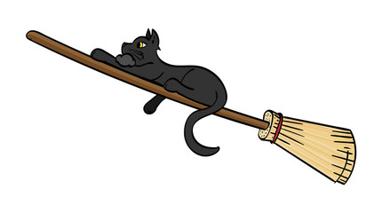 Black Cat riding a broom
