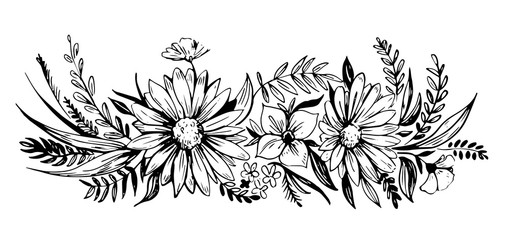 Flowers vector sketch.