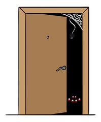 Spiders in a doorway