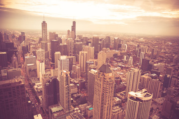 Wall Mural - Chicago Illinois skyline cityscape seen from above with vintage retro tone