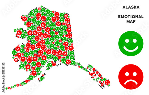 Happiness And Sorrow Alaska Map Collage Of Emojis In Green And Red