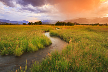 Acrylic Prints Village Colorful sunset above rural Utah, USA.