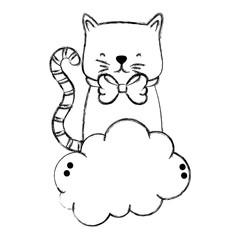 grunge cute cat pet animal in the cloud