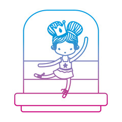 degraded line nice ballerina girl dancing with crown