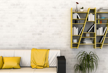 interior living room with sofa and bookshelf. 3d render