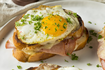Homemade French Croque Madame Sandwich