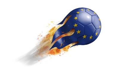 Flying Flaming Soccer Ball with European Union Flag