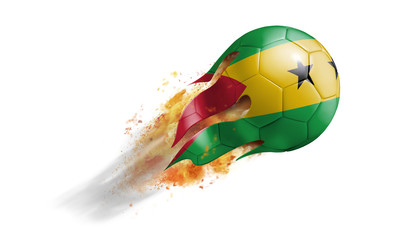 Flying Flaming Soccer Ball with Sao Tome And Principe Flag