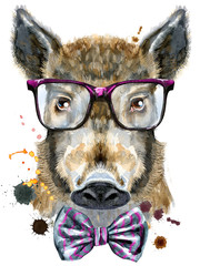 Watercolor portrait of wild boar with glasses and a bow tie