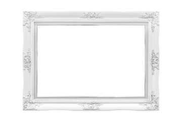 White wood frame on white background.