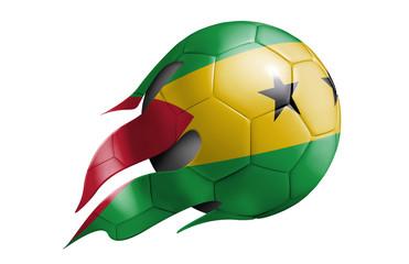 Flying Soccer Ball with Sao Tome And Principe Flag