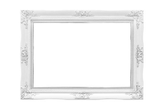 White wood frame on white background.