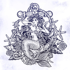 Hand drawn artwork of beautiful mermaid princess sitting on the anchor with seashells.