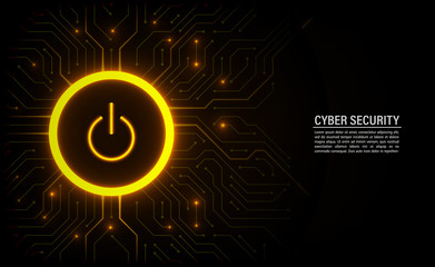 Cyber security concept. Power button on technology background. Wall mural