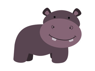 Cute hippo for kid illustration vector