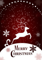 Merry christmas , Happy New YearDeer in a winter Christmas background  with snow. paper art and craft style. Typographical Background With Christmas Elements.
