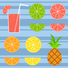 Set of colored isolated tasty citrus fruits on a striped background. Juicy, bright, delicious tropical food. Lime, lemon, grapefruit, orange, pineapple. A glass with a cocktail and a straw.