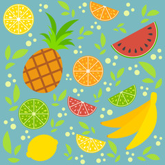A set of colored isolated halves and whole mouth-watering fruits. Juicy, bright tropical food. Lime, lemon, grapefruit, orange, bananas, pineapple, watermelon. Simple flat vector illustration.