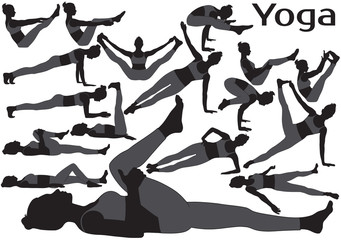 Set of vector silhouettes of woman doing yoga stretching.