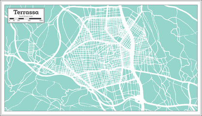 Terrassa Spain City Map in Retro Style. Outline Map.