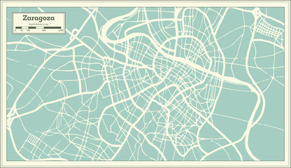 Zaragoza Spain City Map in Retro Style. Outline Map.