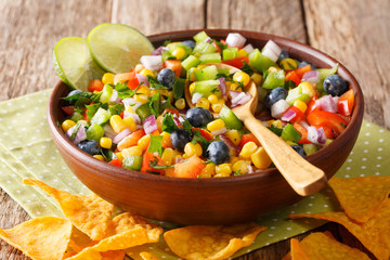 Mexican spicy salsa of corn, blueberries, pepper, herbs and onions close-up in a bowl and nachos chips. horizontal