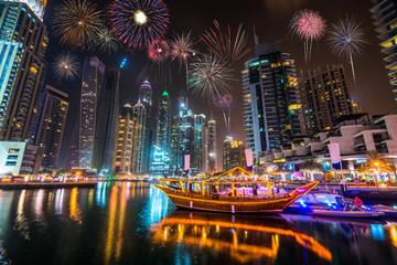 Recess Fitting Dubai Firework display at Dubai marina at night, UAE
