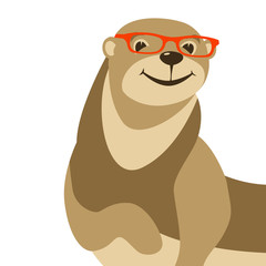 cartoon otter in glasses vector illustration flat style front
